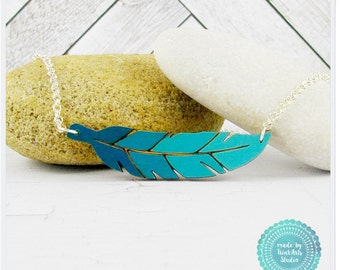 Ombre Sea Green Laser Cut Wood Feather Pendant Necklace