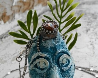 "Ocean Creature ""Vilmaris"" Polymer Clay Pendant Hand Painted Silver Tone Jewelry Necklace"