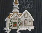 SNOWY CHURCH WALLHANGING Worked in CrossStitch and Quilting Measuring 20 X 23 Holiday Decor.  Quiltsy Handmade