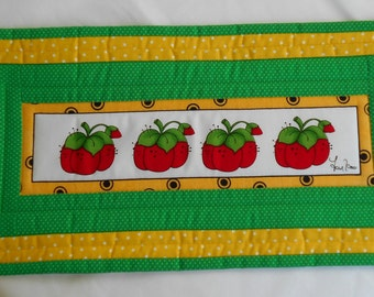 TOMATO LORALIE DESIGN MugRug SnackMat CandleMat from Sewing Ladies Series. Tomato Pincushion 17 1/2 x 8 1/2 inches
