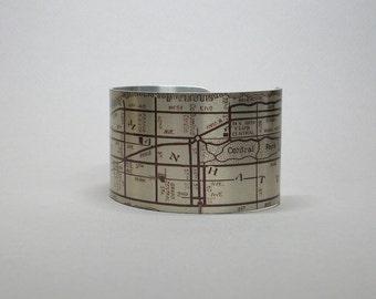 Vintage Manhattan New York City NYC Map Cuff Bracelet Unique Gift for Men or Women