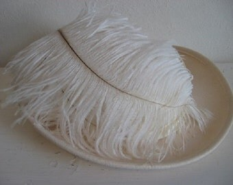 Stunning Vintage Mr. Charles Cream Colored Hat Satin Band Ostrich Plumes! 1950s