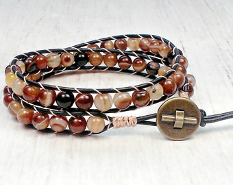 Wrap Around Bracelet - Leather Wrap Bracelet - Double Wrap Bracelet - Botswana Agate Bead Bracelet - Unisex Double Wrap Bracelet