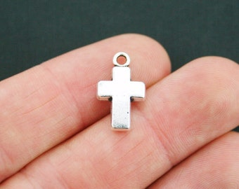6 Cross Charms Antique Silver Tone Thicker Size 2 Sided - SC2508