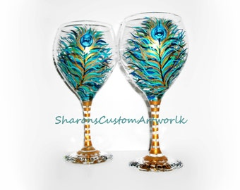 Peacock Feathers Hand Painted Wine Glasses Set of 2 - 20 oz Red Wine Goblets Wedding Anniversary Birthday Personalization Wedding Glasses