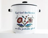 Enameled Cooking Pot Vintage Berggren Design Covered Cooker Swedish Country Style Kitchen Cookware Large Steamer Multi Purpose Stockpot USA