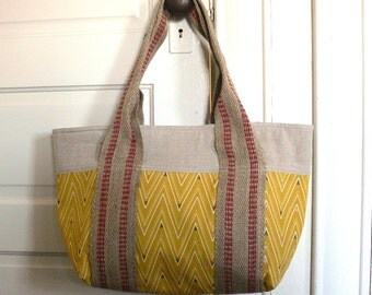Tote Bag -- Mustard Chevron with Natural Linen and Jute Handles -- Ready to Ship