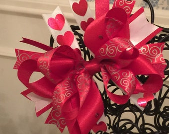 Red Hearts and Swirls Spiked Boutique Bow - Valentine's Bow - Love Bow