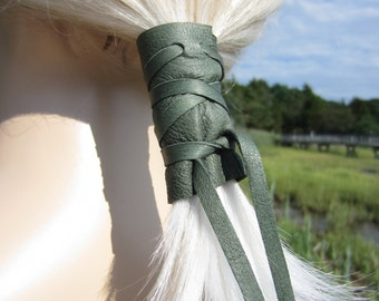 Pigtail Holder Leather Hair Wrap Ties Ponytail Holder Hair Jewelry BOHO Bohemian Olive Green Z1010