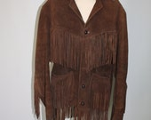 Vintage Suede Leather Fringed Jacket Brown Unisex Hippie Boho Western Southwestern