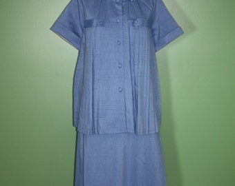 Vintage 50s 60s Maternity Skirt And Top Blouse Set Suit Separates Maternity Dress Blue Pleated Detail Rockabilly Pinup Mid Century Retro