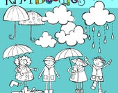 KPM Rainy Day Kids Stamps digital clip art