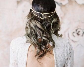Halo Double V Headpiece Bohemian Unique Simple Bridal Circlet Boho Bride Draping Wedding Headband unusual head chain hair jewelry pins 223 2