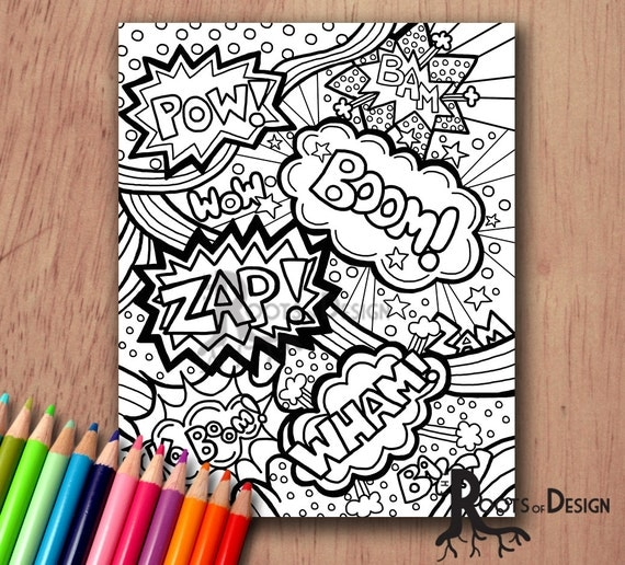 instant download coloring page comic book words pop art print zentangle inspired doodle art printable
