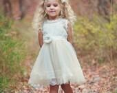 Flower girl dress, lace flower girl dress, country flower girl dress, rustic flower girl dress, baby dress, ivory lace dress, easter dress.