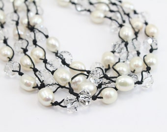 Macrame Necklace with White Freshwater Pearls and Faceted Swarovski Crystals Adjustable to 3 lengths