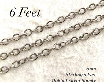 Sterling Silver Oxidized Cable Chain - Textured Necklace  Footage Chain 6 FT CH1 - 6