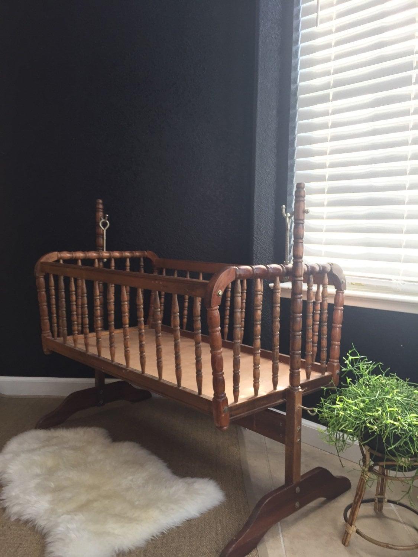 Vintage Wooden Rocking Jenny Lind Baby Crib Spindle