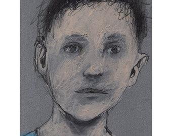 Boy Portrait original drawing people figurative Matted art pencil pastel square
