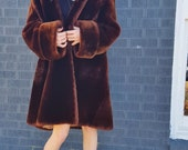 bell sleeve mouton fur mid century retro swing coat. fur coat. thick. long swing coat. size medium large. walking coat. thick winter coat