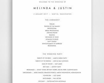 Wedding Programs, Instant Download, Download, Wedding Template, Program Wedding, Editable, Programs, Editable Template, Modern, Minimalist