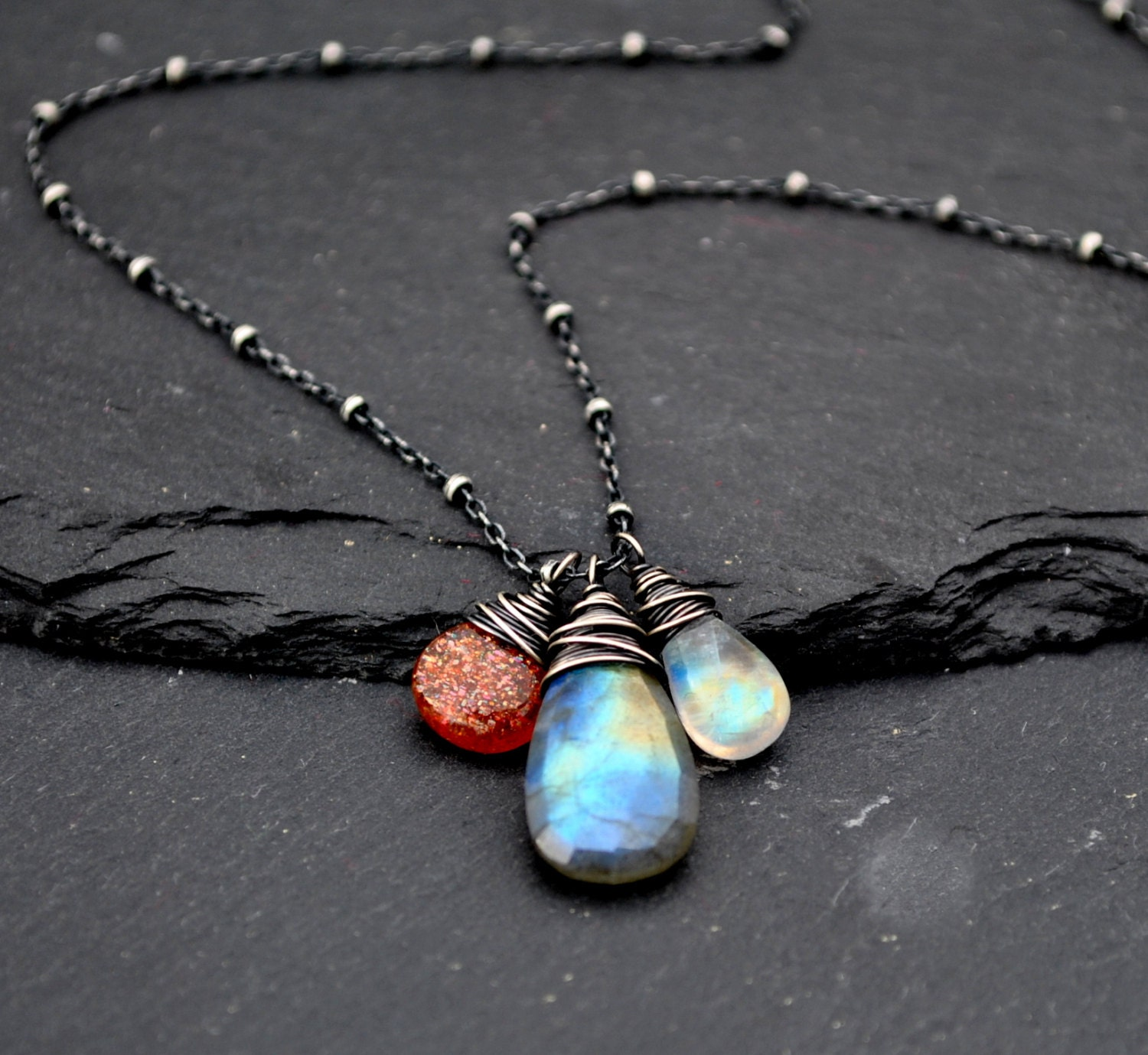 Sunstone Moonstone & Labradorite Necklace Flashy Blue