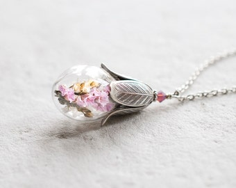 Terrarium Necklace, Graduation Gift, Pink Real Flower Necklace, Botanical Jewelry, Glass Bottle Pendant, Gift for mom