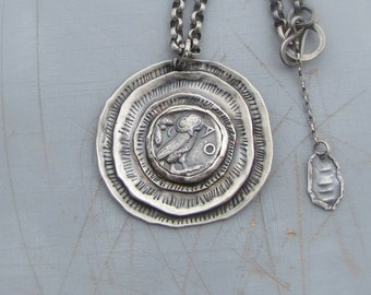 Silver Coin Necklace, Round Handmade Silver Ethnic Pendant, Silver Pendant Necklace, Ready to Ship