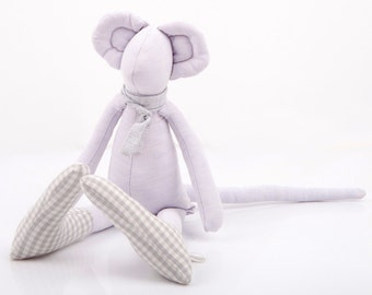 Stocking stuffer Stuffed animal - Plush Minimalist bright Purple lilac Mouse Wearing gray scarf & Plaid socks - eco timo handmade fabric dol