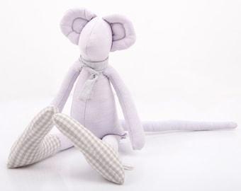 Stocking stuffer Stuffed animal - Plush Minimalist bright Purple lilac Mouse Wearing gray scarf & Plaid socks - eco timo handmade fabric dol