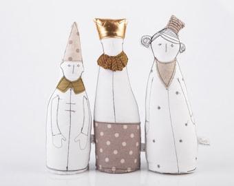 Royal trio dolls - childrens room decor, King Queen & Dwarf dolls - 3 Royal soft sculpture dolls in gold , Beige and brown - handmade dolls