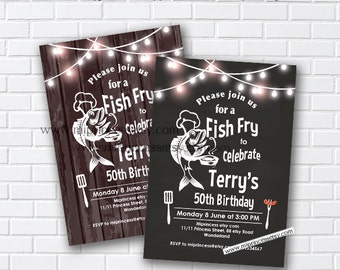 Fish Fry party, birthday fish fry Invitation, Chalkboard Backyard, Barbecue Fish Fry , any age, 30th 40th 50th 60th 70th 80th - card 969
