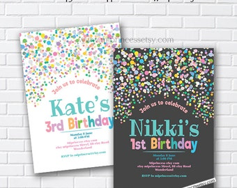 Rainbow Confetti Birthday Invitation for any age 1st 2nd 3rd 4th 5th 6th 7th kids party invite - card 1016