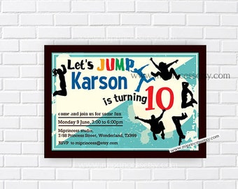 jump invitation, Jump Tumble Birthday, Bounce house invitation, for Big Boys birthday 6th 7th 8th 9th 10th 11 12 13 invitation card 655