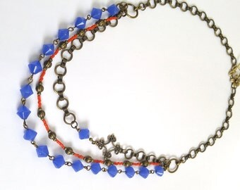 3 Strand Cobalt Blue & Orange Beaded Necklace With Antique Gold/ Brass Accents - One of a Kind