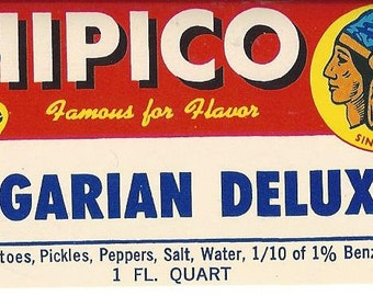 Chipico Hungarian Deluxe Vintage Jar Label, 1950s