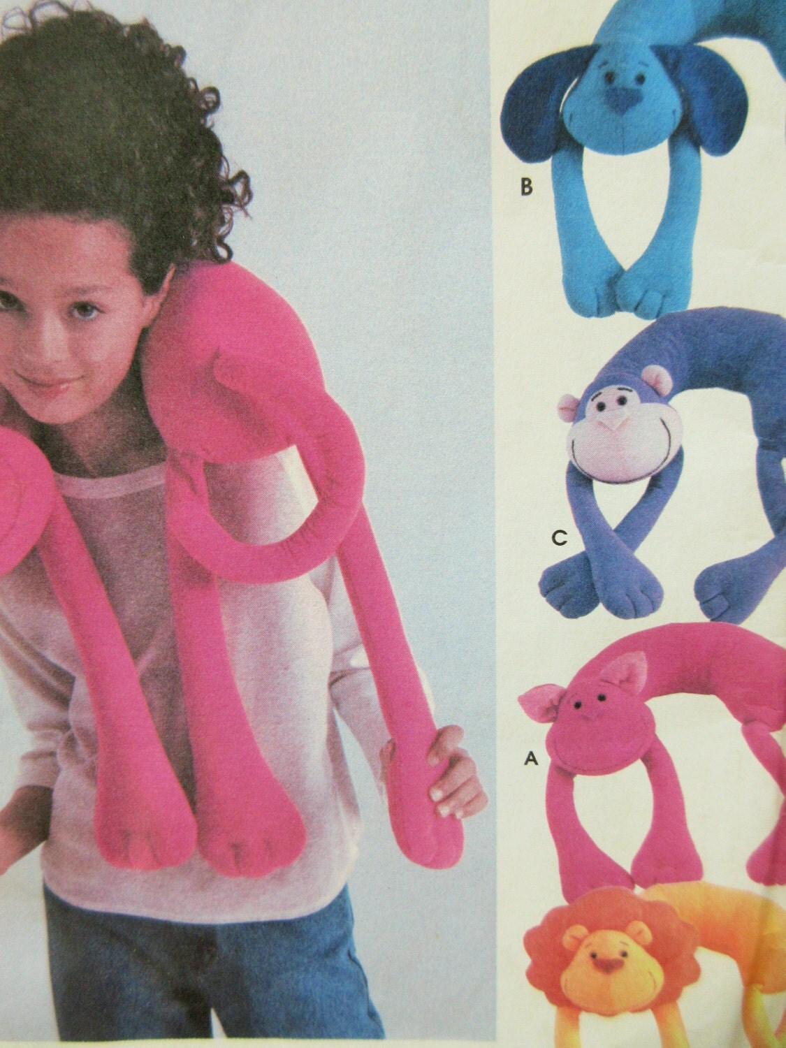 Animal Neck Pillow Pattern Free : Simplicity 5310 Sewing Pattern Animal Neck Pillows Stuffed