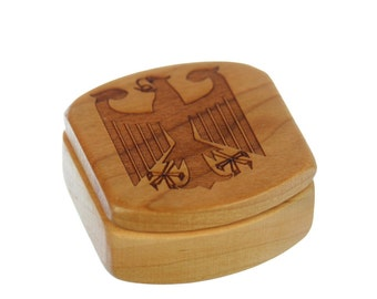 "Germany Wooden Box, Solid Cherry, Pattern MS51 German Eagle, 1-3/4""L x 1-7/8""W x 7/8""D, Paul Szewc"