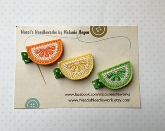 Felt Hair Clips- Citrus Fruit Slices Hair Clips- sold as a set or individually