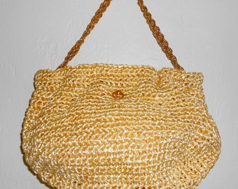 Vintage 1960s headstock MM MORRIS MOSKOWITZ raffia yellow crochet chain-handle shoulder bag
