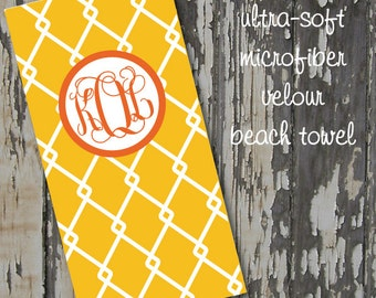 monogrammed LINKED beach towel - huge 30x60 ultra-soft microfiber velour