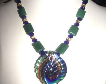 Vibrant Color Peacock Necklace