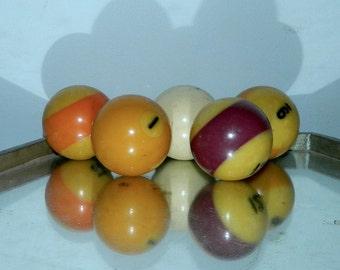 vintage billiards ball balls / partial set of 5 pool balls / cue ball / decor display
