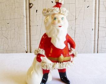 Santa Claus with Bag - Blue Rhinestone Eyes - Spaghetti Trim - Mid-Century 1960s - Made in Japan - Possibly Kreiss - 1960s Christmas