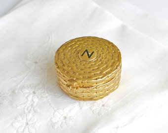 Sold Perfume Compact Gold Tone Norell Basketweave Pillbox Parfume Mid Century
