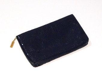 Whiting and Davis Mesh clutch purse Vintage Navy Metal handbag Whiting & Davis International 1970s 1980s  Free US Ship