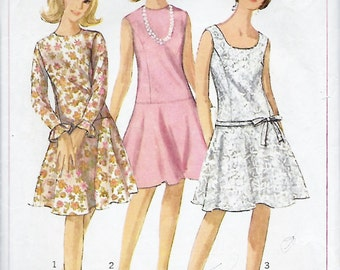 Simplicity 6539 Misses 60s Low Waistline One-Piece Dress Sewing Pattern Bust 34