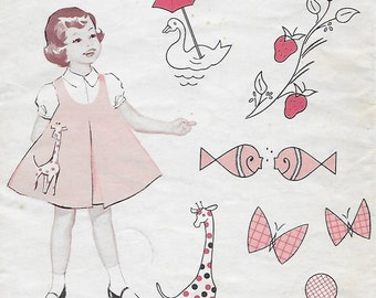 Singer Patterns 6 Applique designs for decorating little girls dresses Giraffe Fish Duck Seal Butterfly Strawberry