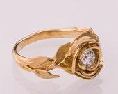 Rose Engagement Ring No.1 - 14K Gold and Diamond engagement ring, engagement ring, leaf ring, flower ring, antique, art nouveau, vintage