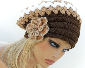 Slouchy Hat, Womens Knit Hat with Flower. Crochet beret, warm hat, Brown Beige White shunky beret,  flower's beret. Valentine's day SALE